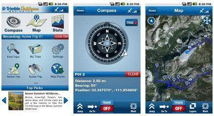 Trimble outdoor navigation screenshot