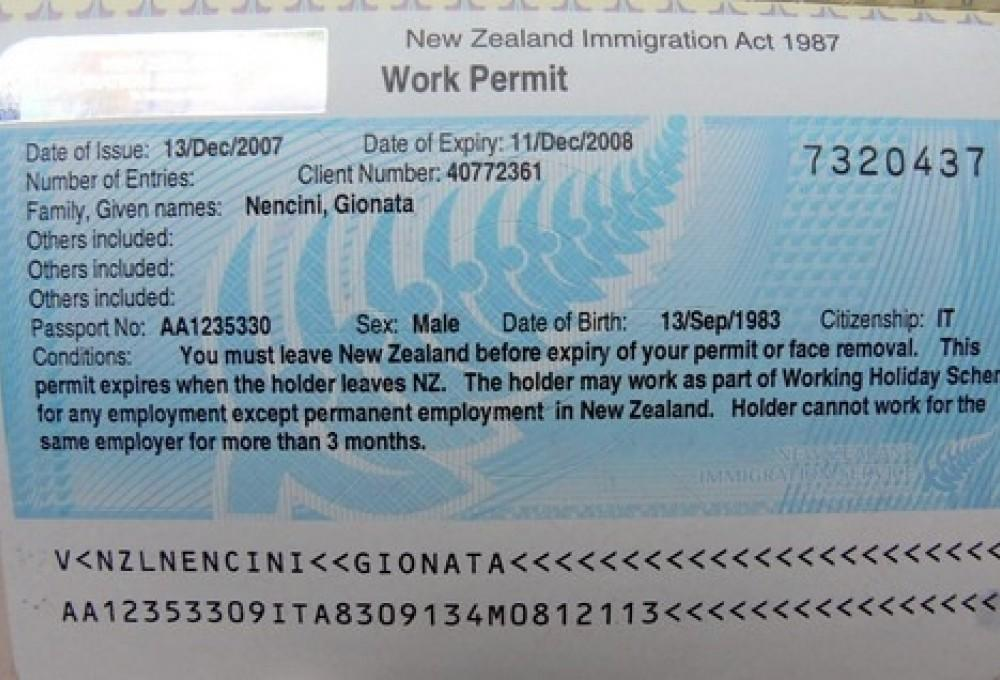 Working holiday visa Nuova Zelanda
